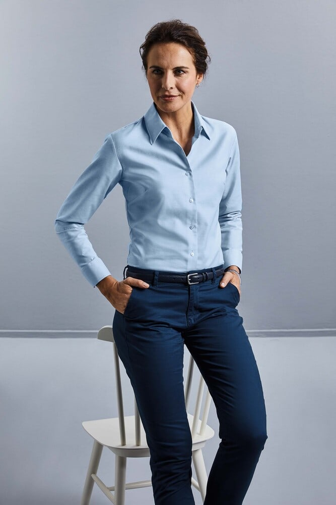 Russell Collection RU932F - Ladies' Long Sleeve Easy Care Oxford Shirt