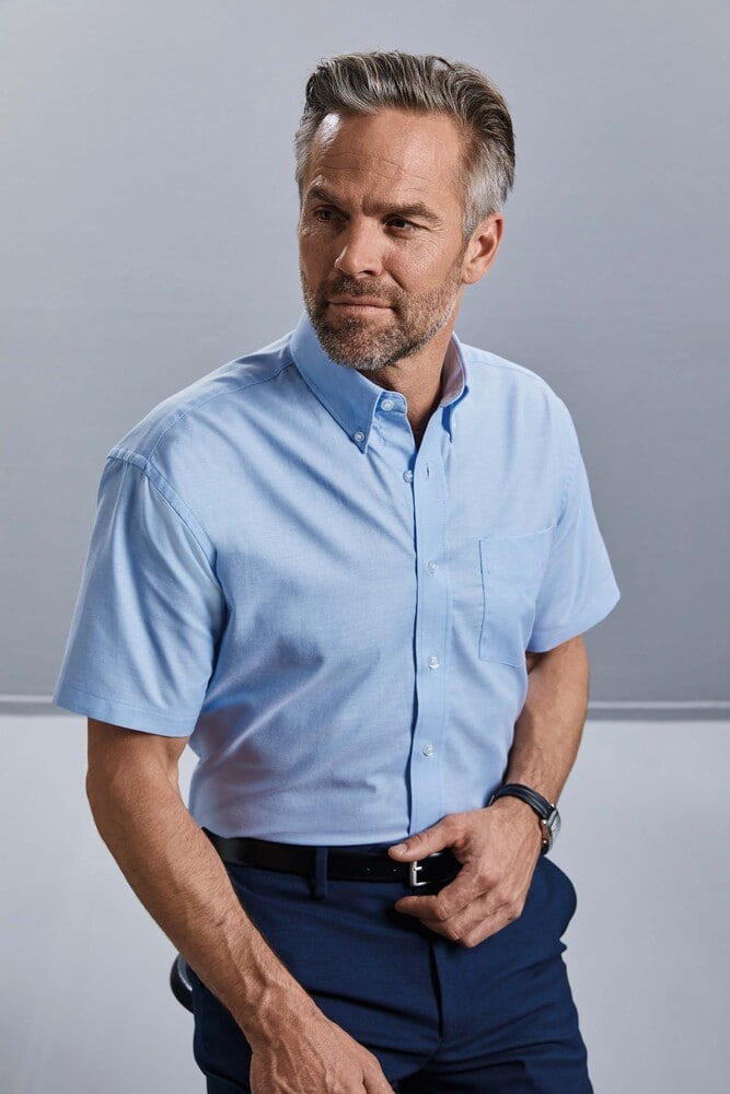 Russell Collection RU933M - Camisa Oxford En Manga Corta Y De FÁcil Cuidado