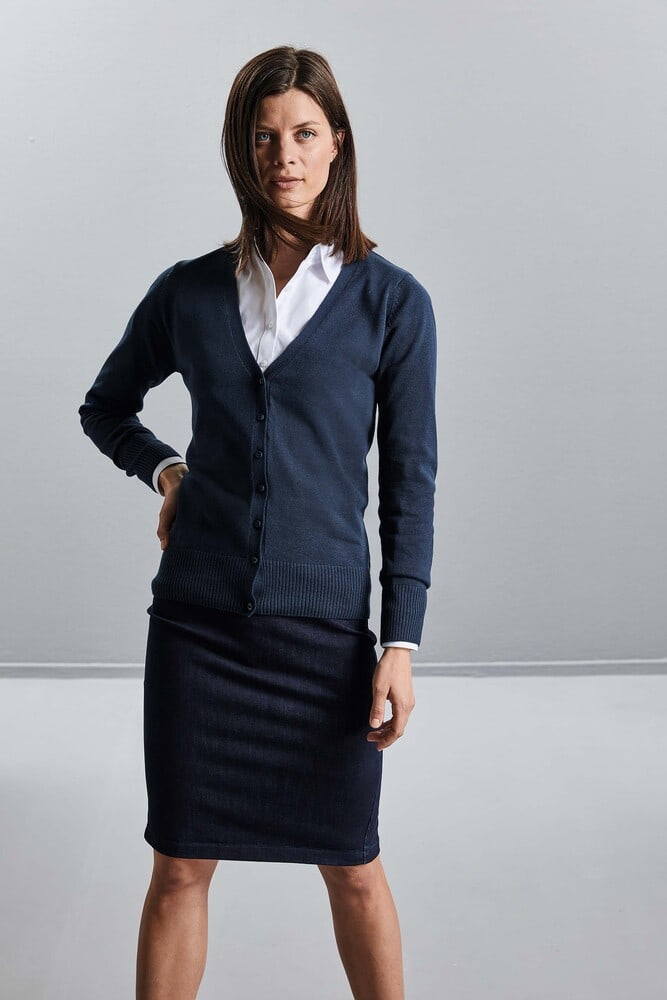Russell Collection RU715F - Ladies` V-Neck Knitted Cardigan