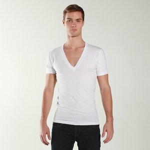 American Apparel  6456  Unisex Sheer Jersey Short-Sleeve Deep V-Neck