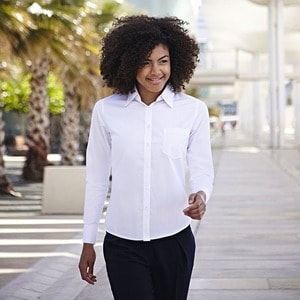 Fruit of the Loom SS012 - Camicia donna in popeline maniche lunghe