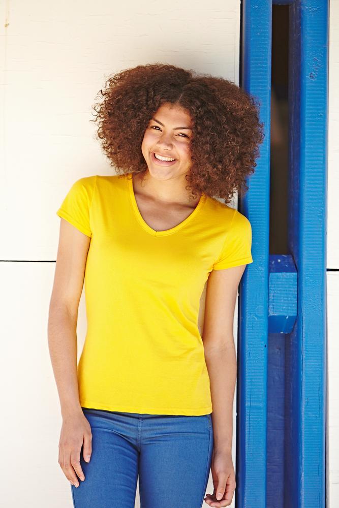 Fruit of the Loom SS047 - Women's V-neck T-shirt