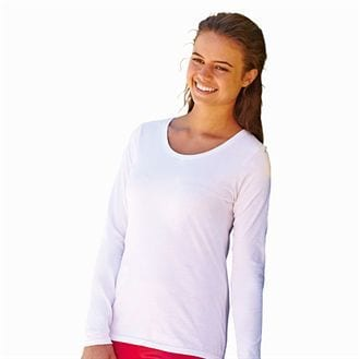 Fruit of the Loom SS049 - Dames valueweight t-shirt met lange mouw