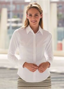 Fruit of the Loom SS001 - Camisa Mulher Oxford Manga Curta
