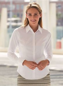 Fruit of the Loom SS001 - Camisa Oxford para mujer de manga larga