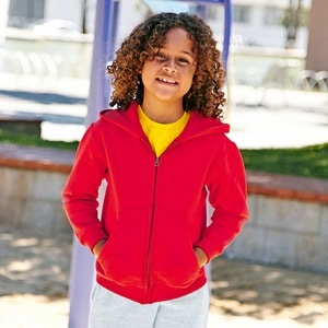 Fruit of the Loom SS225 - Sweatshirt Criança Com Capuz e Zíper