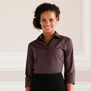 Russell Collection J946F - Womens 3/4 sleeve easycare fitted shirt