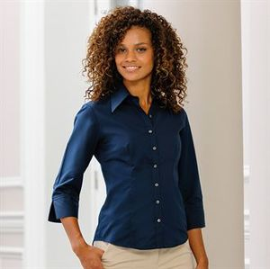 Russell Collection J954F - Camisa justa de Mulher - Manga ¾ sleeve Tencel®