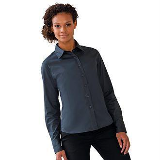 Russell J916F - Camisa clásica de sarga de manga larga para mujer
