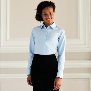 Russell Collection J932F - Camisa de Mulher Oxford de manga comprida - easycare