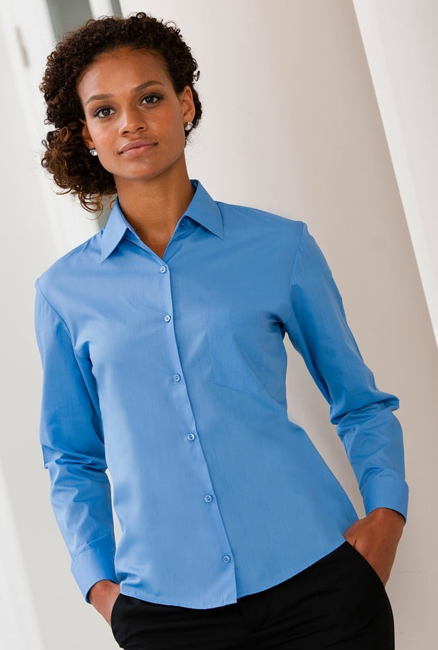 Russell Collection J934F - Women's long sleeve polycotton easycare poplin shirt