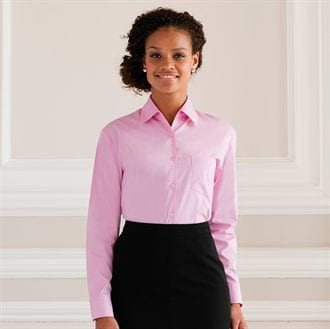 Russell Collection J936F - Women's long sleeve pure cotton easycare poplin shirt