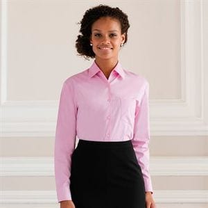 Russell Collection J936F - Womens long sleeve pure cotton easycare poplin shirt