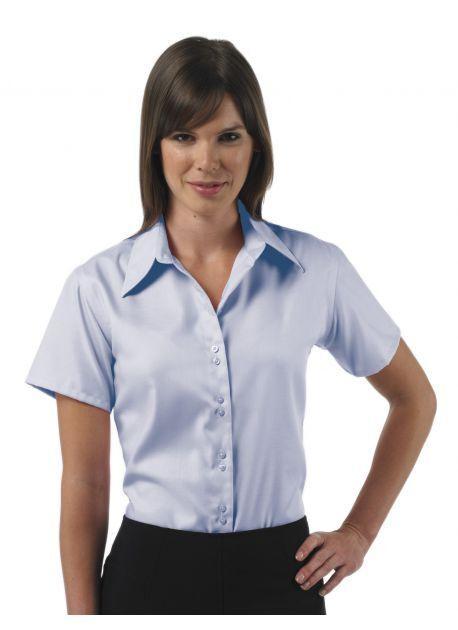 Russell Collection J937F - Camisa de Mulher de manga curta - algodão popline puro, easycare