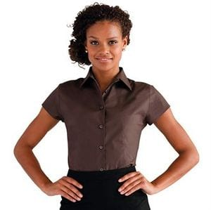 Russell Collection J947F - Womens cap sleeve easycare fitted stretch shirt