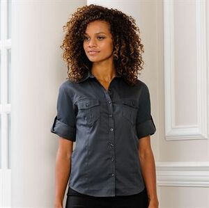 Russell Collection J918F - Womens roll-sleeve 3/4 sleeve shirt
