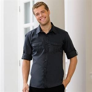 Russell Collection J918M - Roll-sleeve shirt long sleeve