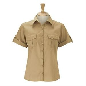 Russell Collection J919F - Womens roll-sleeve short sleeve shirt