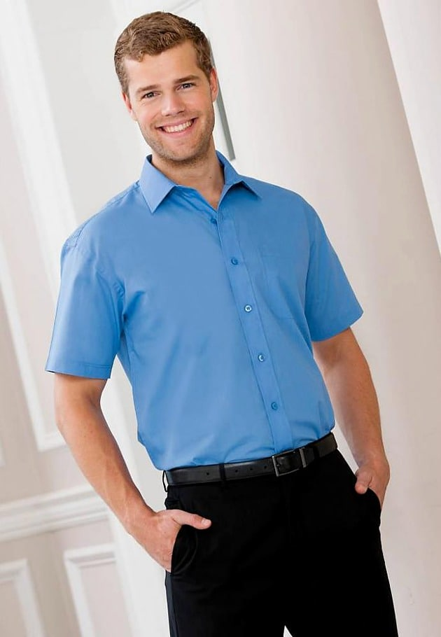 Russell Collection J935M - Short sleeve polycotton easycare poplin shirt