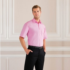 Russell Collection J937M - Short sleeve pure cotton easycare poplin shirt