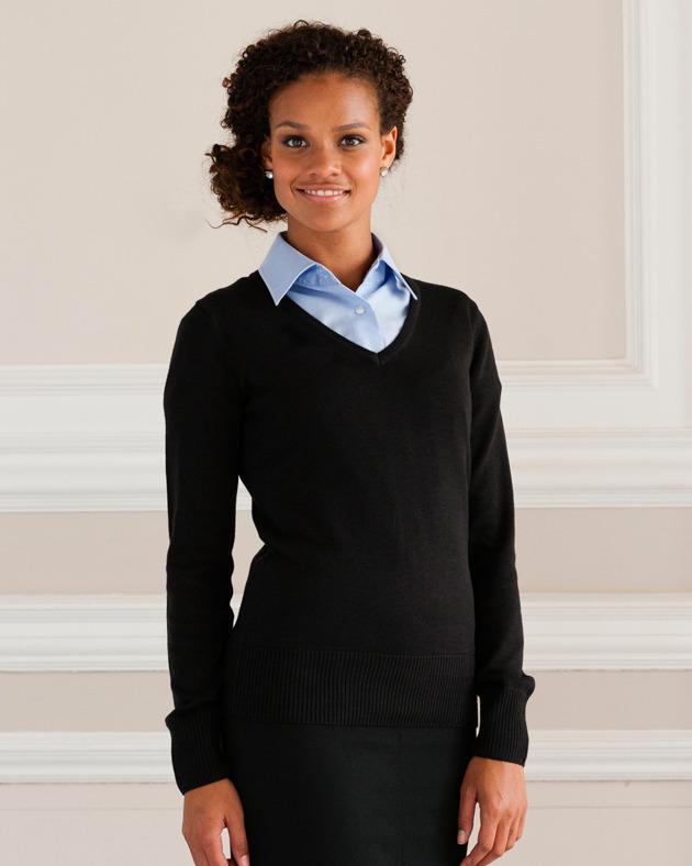 Russell Collection J710F - Maglione da donna in maglia con scollo a V