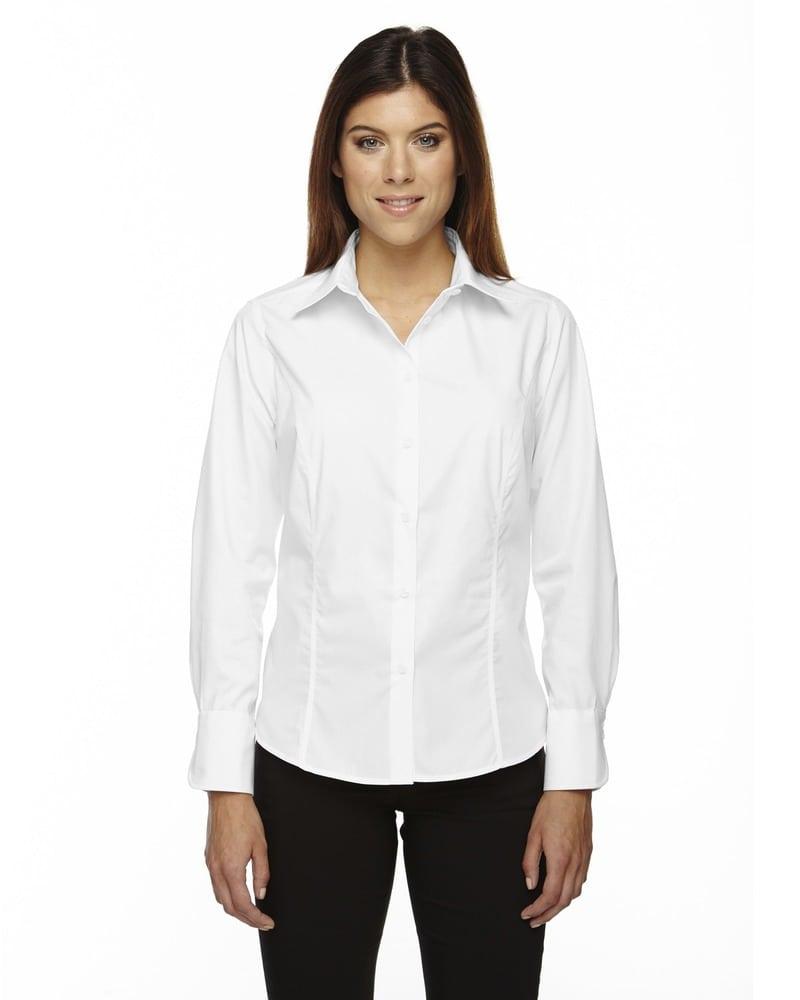 Ash City North End 77037 - LusterLadies' Wrinkle Resistant Cotton Blend Poplin Taped Shirt