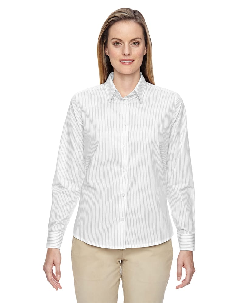 Ash City North End 77044 - Align Ladies' Wrinkle Resistant Cotton Blend Dobby Vertical Striped Shirt