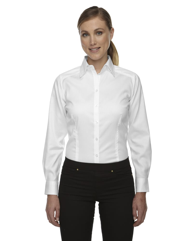 Ash City Vintage 78646 - Ladies' Wrinkle Free 2-Ply 80's Cotton Stripe Jacquard Taped Shirt