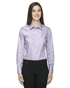 Ash City North End 78673 - Boulevard Ladies Wrinkle Free 2-Ply 80'S Cotton Dobby Taped Shirt With Oxford Trim