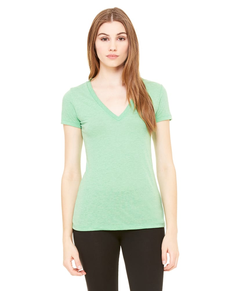 Bella+Canvas 8435 - T-shirt à manches courtes et col V profond en triblend pour femmes