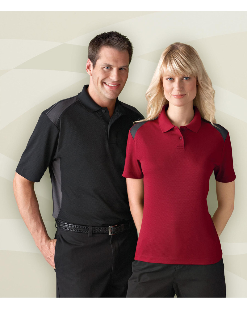 e.c.o Collection 85091 - Men's Recycled Polyester Performance Honeycomb Color Block Polo