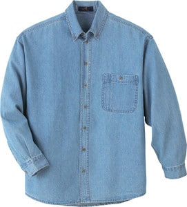 Ash City Vintage 88035 - Mens Denim Button-Down Long Sleeve Shirt