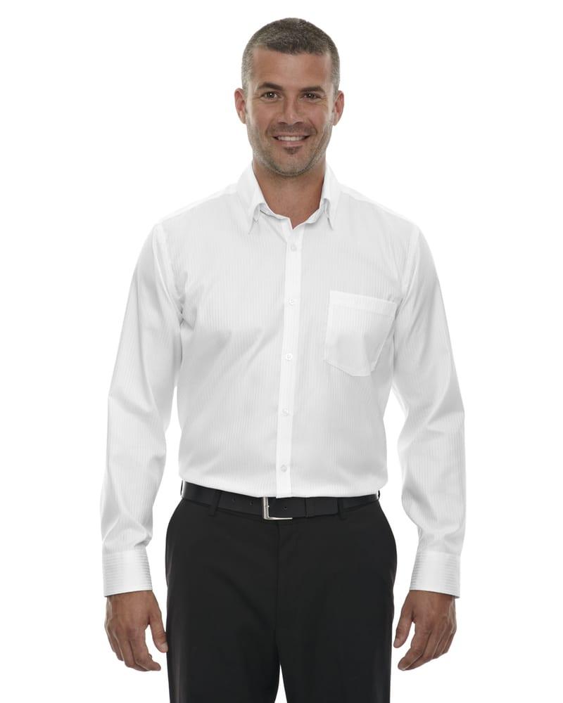Ash City Vintage 88646 - Chemise Infroissable Pour Homme En Jacquard De Coton À Rayures 80s Deux Plis Avec Coutures Collées