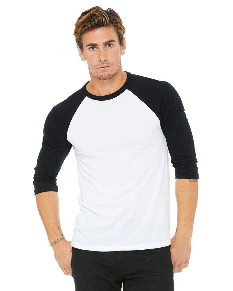 Bella+Canvas 3200 - T-shirt de baseball unisexe à manches 3/4