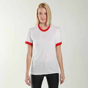 American Apparel  BB410  Unisex Poly-Cotton Short-Sleeve Ringer T-Shirt