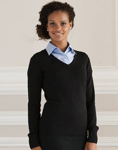 Russell Collection R-710F-0 - Damen mit V-Ausschnitt Strickpullover