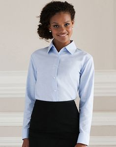 Russell Collection R-932F-0 - Camicia donna Oxford maniche lunghe
