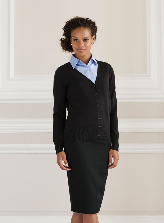 Russell Europe R-715F-0 - Ladies` V-Neck Knitted Cardigan