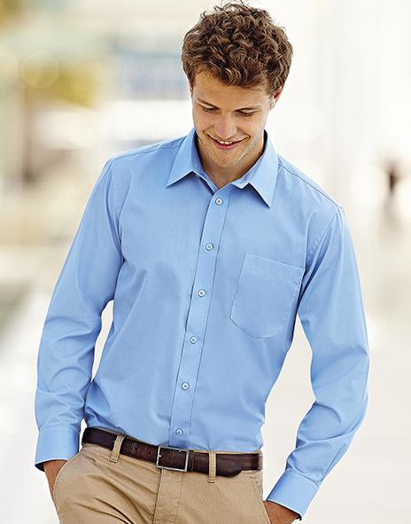 Fruit of the Loom Long Sleeves Poplin Shirt Mens Formal Casual Wear Plain Shirts