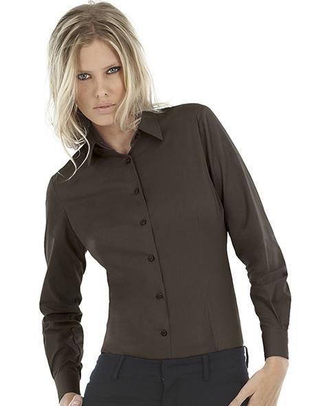 B&C SWP23 - Ladies' Black Tie Elastane Long Sleeve Poplin