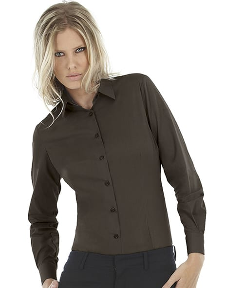 B&C SWP23 - Ladies' Black Tie Elastane Long Sleeve Poplin