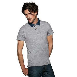 B&C BA803 - Polo Piqué Colletto Denim