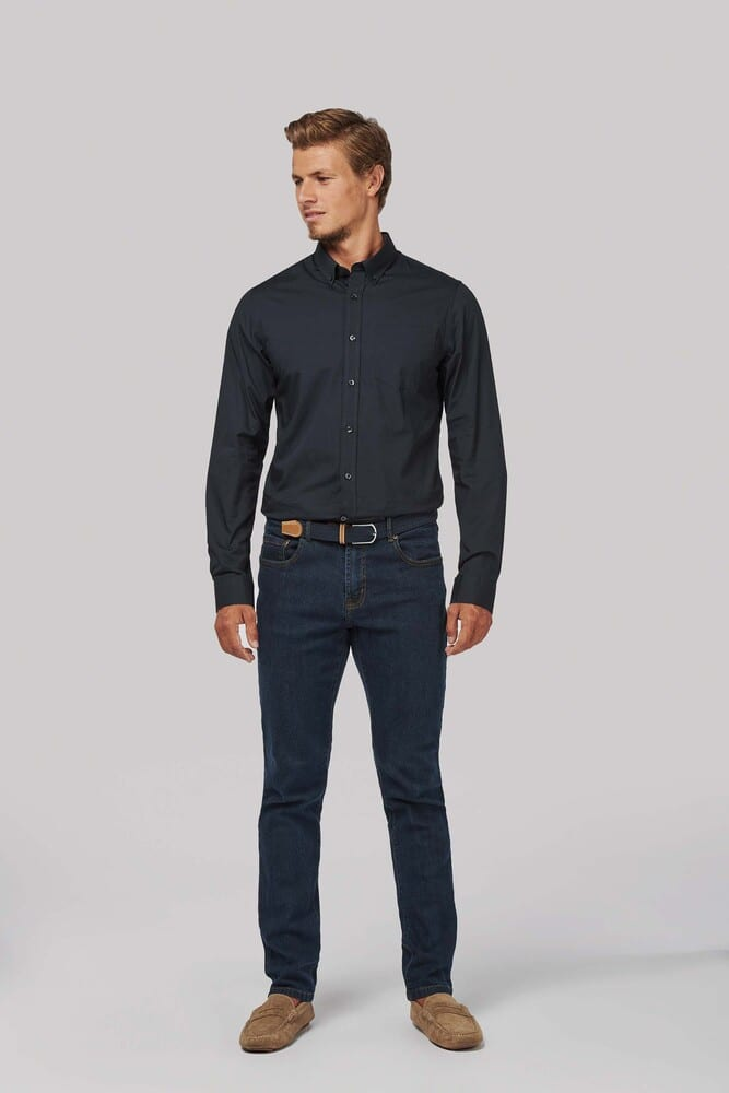 Kariban K517 - MEN'S LONG SLEEVE WASHED POPELINE SHIRT