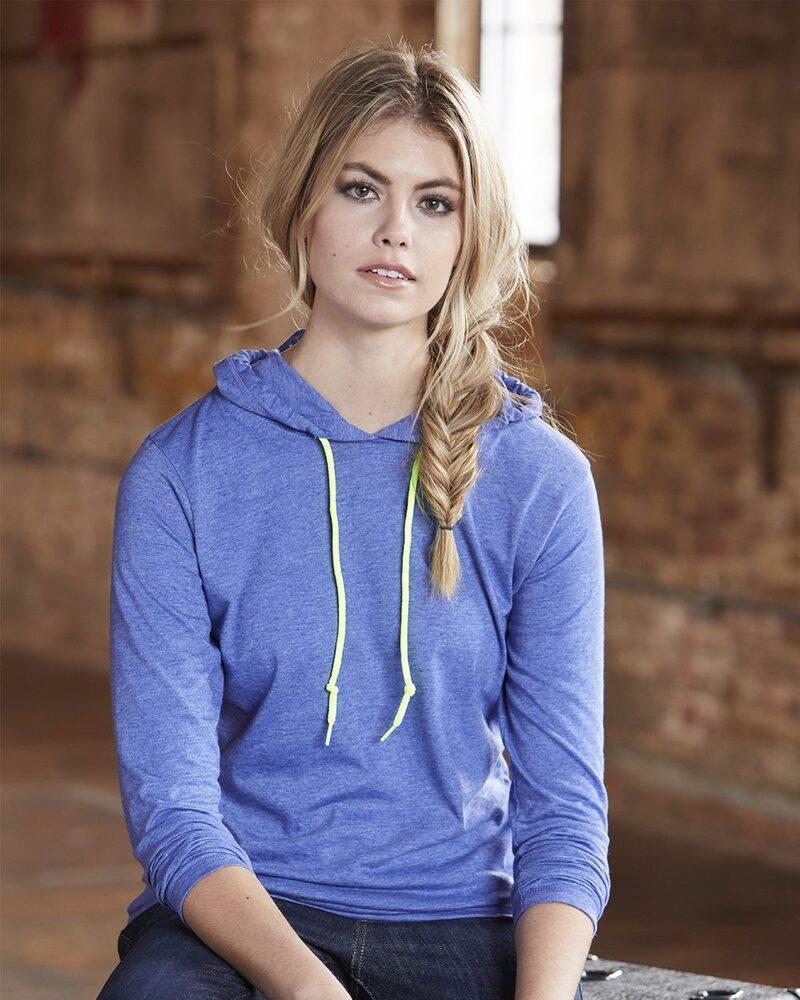 Anvil 887L - Ladies' Lightweight Long Sleeve Hooded T-Shirt