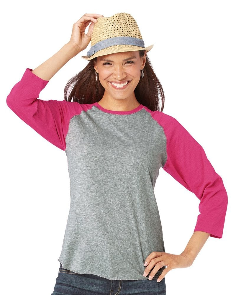 LAT 3530 - Ladies' Fine Jersey Three-Quarter Sleeve Baseball T-Shirt