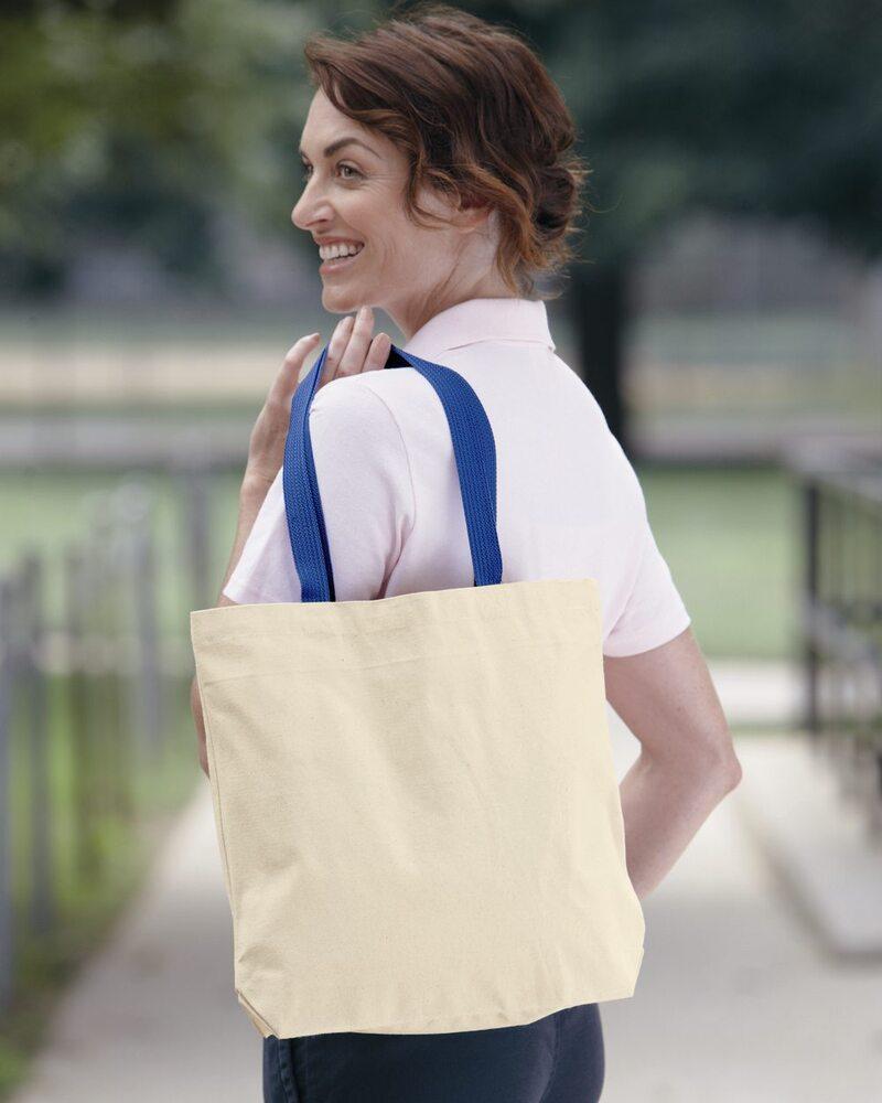 Liberty Bags 8868 - Bolsa de 11 onzas de color natural con manijas contrastantes