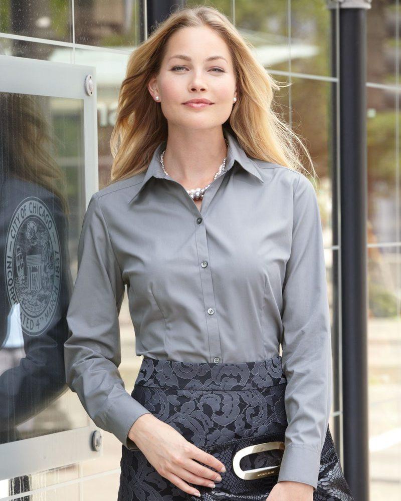 VanHeusen 13V0114 - Camisa de seda de popelina