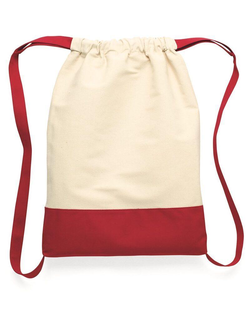 Liberty Bags 8876 - Bolsa de lona de algodón con cordón y parte inferior con contraste de color