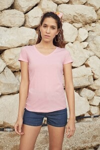 Fruit of the Loom SC61398 - T-Shirt Femme Col V 100% Coton