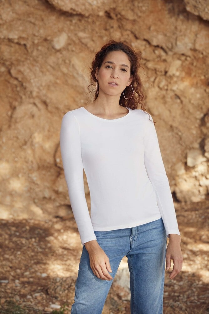 Fruit of the Loom SC61404 - T-Shirt Manches Longues Femme 100% Coton